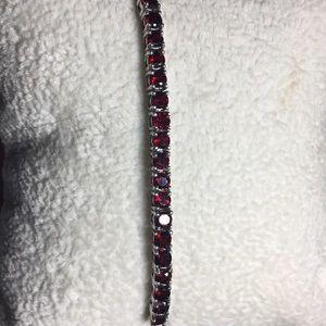 NEW Sterling Silver Garnet Bracelet-Never Worn